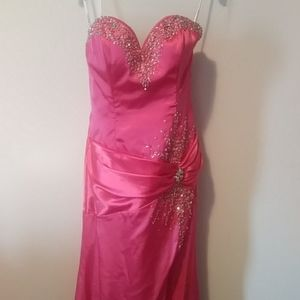 Strapless Formal Gown with Rhinestone Beading